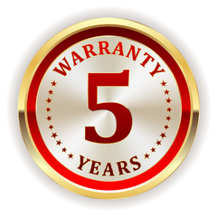 Gold five year warranty badge on white background