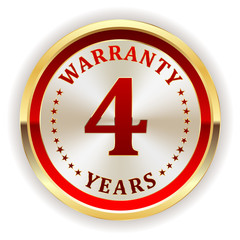 Gold five four warranty badge on white background