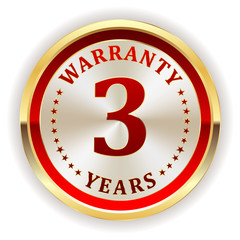 Gold three year warranty badge on white background