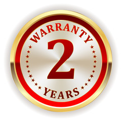 Gold two year warranty badge on white background