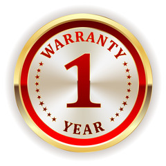 Gold one year warranty badge on white background