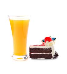 Orange juice and chocolate cake on white
