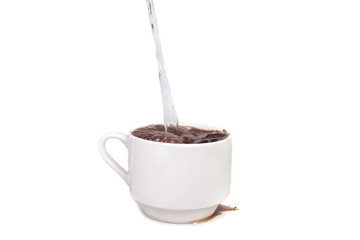 filled with water and poured hot chocolate drink