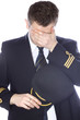 Leinwanddruck Bild - Sad and embarrassed pilot