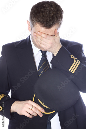 Sad and embarrassed pilot