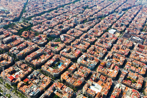 Aerial view of typical buildings at Eixample. Barcelona