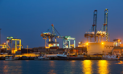 night view of   cranes  in seaport. Algeciras