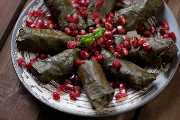 Close-up of vine leaves with meat and rice stuffing, studio shot