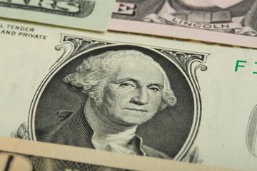 Macro of George Washington on USA dollar banknote