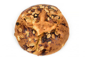 Typical homemade czech Easter Cake With Almonds on white