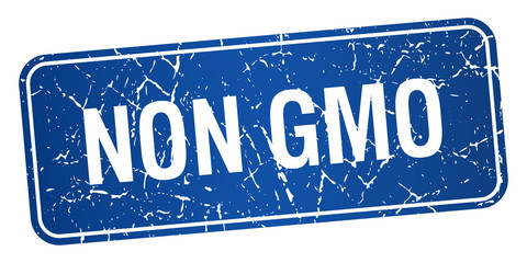 non gmo blue square grunge textured isolated stamp