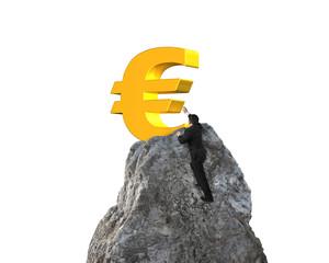 Businessman hand wanting for euro symbol on mountain peak