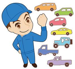 整備士と車のピクトグラム