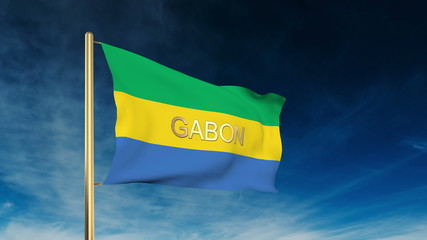 Gabon flag slider style with title. Waving in the wind with