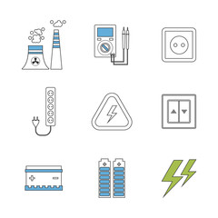 Power energy, eco friendly icons