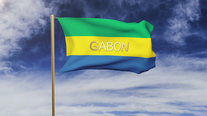 Gabon flag with title waving in the wind. Looping sun rises