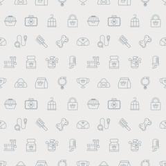 pet line icon pattern set