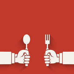 Menu red background. Hands with fork and spoon