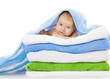 Baby Under Towels Blanket, Clean Kid after Bath, Cute Infant
