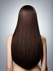 Woman with long brown straight  hair. Rear view