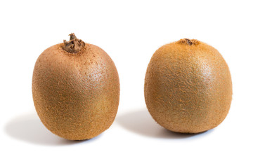 Closeup of two kiwifruits with shadow isolated on white