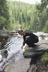 Young Woman Splashing Water
