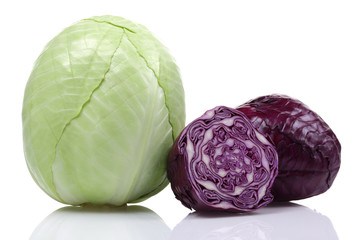 Green Cabbage and Red Cabbage