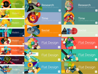 Mega collection of flat web infographic concepts and banners