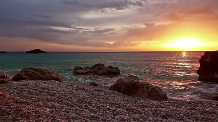 nice sunset on tropical island