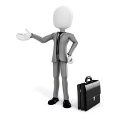 3d man, businessman on white background