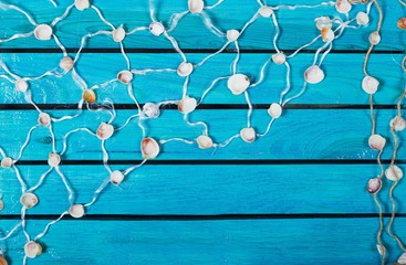 Summer. Pretty turquoise blue nautical background decorated with