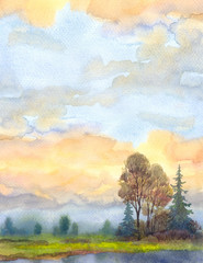 Watercolor landscape background. Evening sky over the lake
