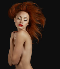 Luxurious Sophisticated Redhead Woman. Aspiration