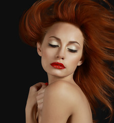 Desirable Redhead woman with Red Lips