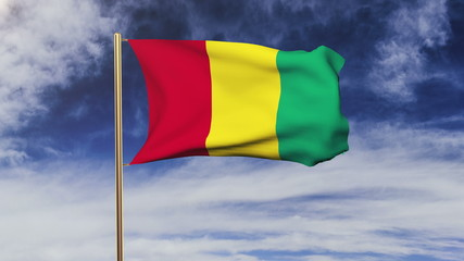Guinea flag waving in the wind. Green screen, alpha matte