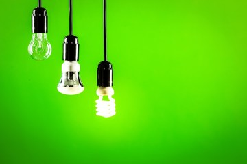 Led. Hanging tungsten light bulb, energy saving and LED bulb