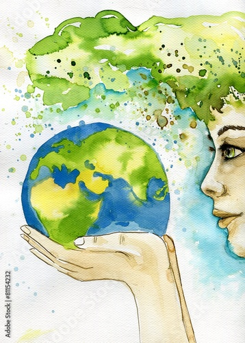 Foto op Canvas Schilderkunstige Inspiratie watercolor illustration depicting the earth