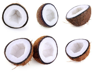 Coconut collage, isolated on white