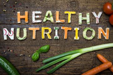 Text Healthy Nutrition aus verschieden belegten Broten frischem