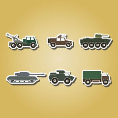 set of color icons with army vehicle  for your design