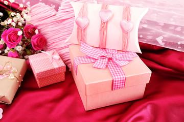 Handmade gift on Valentine Day, close-up