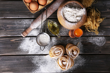 Raw homemade pasta and ingredients for pasta