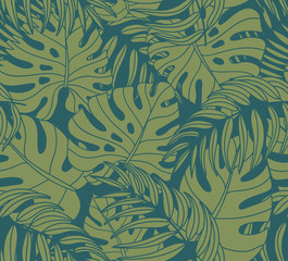 Beautiful seamless tropical jungle floral pattern background