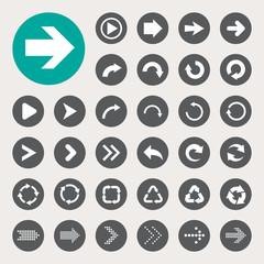 Basic arrow sign icons set