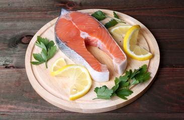 fresh raw salmon steak, trout