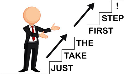 businessman by showing just take the first step