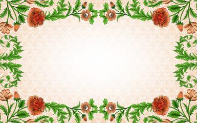 Vintage rectangular  frame with floral leaf pattern with roses