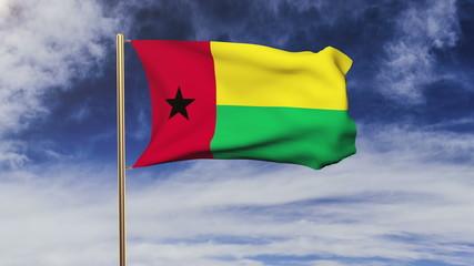 Guinea-Bissau flag waving in the wind. Green screen, alpha matte