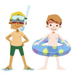 夏の水着のダイビング少年たち