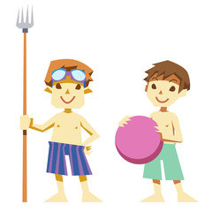 夏の水着のサバイバル少年たち
